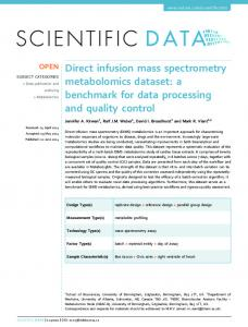 Direct infusion mass spectrometry metabolomics dataset: a benchmark ...