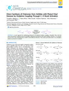 Direct Synthesis of Chalcones from Anilides with ... - ACS Publications