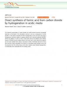 Direct synthesis of formic acid from carbon dioxide by ... - Nature