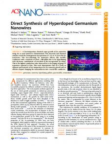 Direct Synthesis of Hyperdoped Germanium ... - ACS Publications