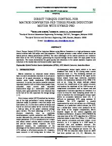 direct torque control for matrix converter-fed three phase induction ...
