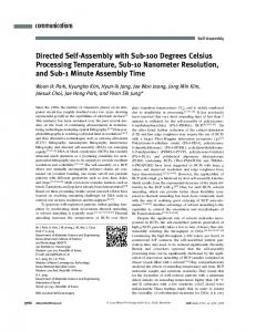 Directed SelfAssembly with Sub100 Degrees Celsius Processing ...