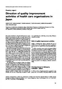 Direction of quality improvement activities of health care organizations ...