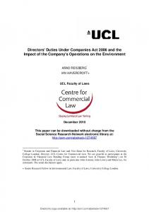 Directors' Duties Under Companies Act 2006 and the Impact ... - SSRN