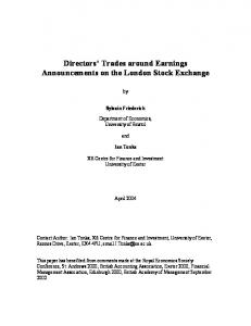 Directors' Trades around Earnings Announcements on the ... - CiteSeerX