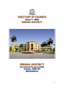 DIRECTORY OF COURSES OSMANIA UNIVERSITY
