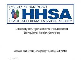 Directory of Organizational Providers for Behavioral Health Services