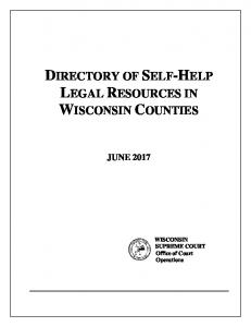 Directory of self-help legal resources in Wisconsin counties