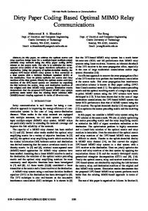 Dirty Paper Coding Based Optimal MIMO Relay ... - CiteSeerX