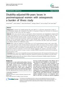 Disability-adjusted-life-years losses in postmenopausal women ... - Core