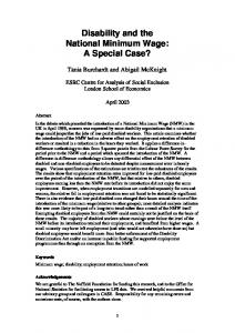 Disability and the National Minimum Wage: A Special Case? - STICERD