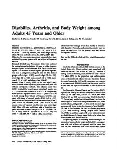 Disability, Arthritis, and Body Weight among ... - Wiley Online Library