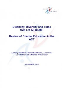 Disability, Diversity and Tides - AIS ACT