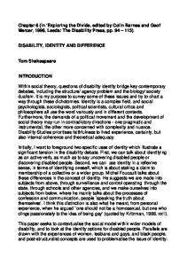 Disability, identity and difference - Centre for Disability Studies
