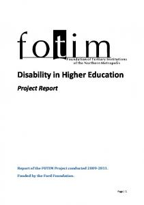 Disability in Higher Education - UCT