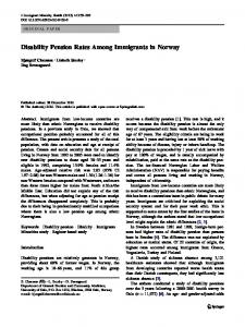Disability Pension Rates Among Immigrants in Norway - BioMedSearch