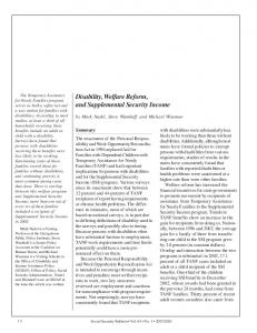 Disability, Welfare Reform, and Supplemental ... - Social Security