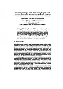 Disambiguating Search by Leveraging a Social Context ... - CiteSeerX