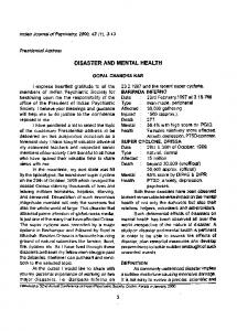 disaster and mental health - NCBI