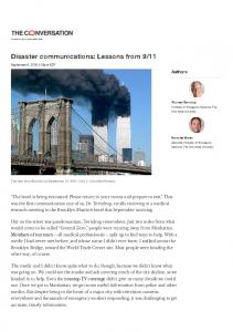 Disaster communications: Lessons from 9/11