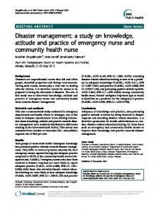 Disaster management: a study on knowledge ... - BMC Public Health