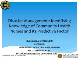 Disaster Management: Identifying Knowledge of Community Health ...