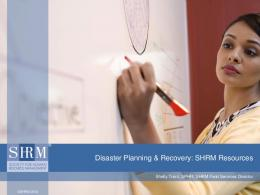Disaster Planning & Recovery: SHRM Resources - Anderson Area ...