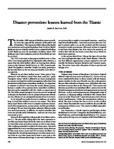 Disaster prevention: lessons learned from the Titanic - Baylorhealth.edu