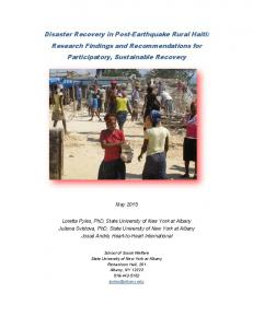 Disaster Recovery in Post-Earthquake Rural Haiti - University at Albany