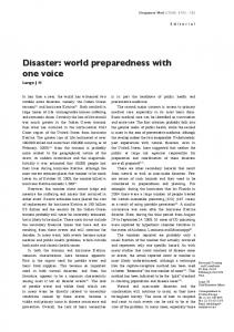 Disaster: world preparedness with one voice