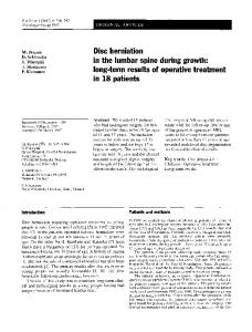 Disc herniation in the lumbar spine during growth - Springer Link