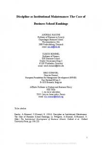 Discipline as Institutional Maintenance: The Case of ... - SSRN papers