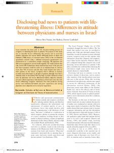 Disclosing bad news to patients with life - Doron Garfinkel, MD