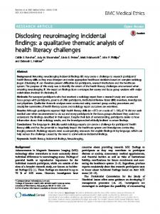 Disclosing neuroimaging incidental findings: a qualitative thematic ...