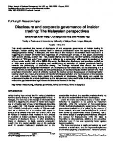 Disclosure and corporate governance of insider trading - UM Expert