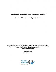 Disclosure of Information about Health Care Quality: Review of ...