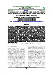 disclosure of non-financial information about public services on the ...