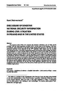 disclosure of sensitive national security information ...