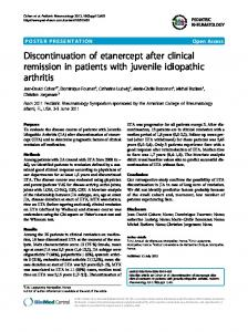 Discontinuation of etanercept after clinical remission in ... - Springer Link