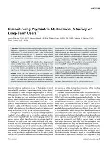 Discontinuing Psychiatric Medications: A Survey ... - Psychiatric Services