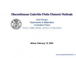 Discontinuous Galerkin Finite Element Methods