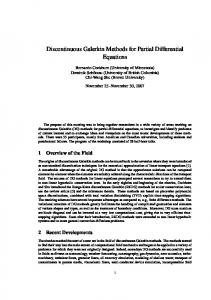 Discontinuous Galerkin Methods for Partial Differential ... - CiteSeerX
