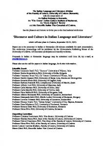 'Discourse and Culture in Italian Language and Literature'