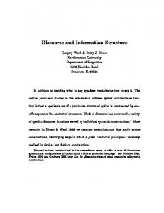 Discourse and Information Structure - CiteSeerX