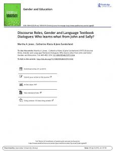 Discourse Roles, Gender and Language Textbook ...