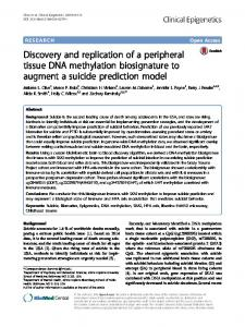 Discovery and replication of a peripheral tissue DNA ... - Springer Link