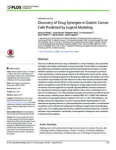 Discovery of Drug Synergies in Gastric Cancer Cells Predicted ... - Core