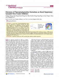Discovery of Piperazinylquinoline Derivatives as ... - ACS Publications