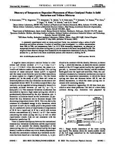 Discovery of Temperature-Dependent ... - APS Link Manager
