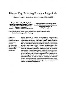 Discreet City: Protecting Privacy at Large Scale